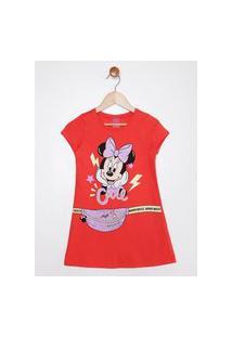 Vestido Disney Infantil Para Menina - Vermelho