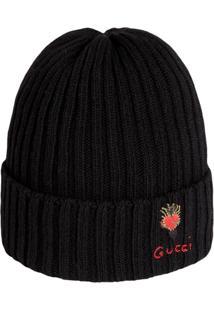 Gucci Gorro De Lã Com Coração Perfurado - Preto