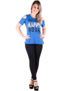 Camiseta Banna Hanna Salto Triplo Ombro Vazado Bic Feminina - Feminino-Azul