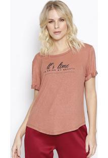 """Camiseta """"It'S Time"""" Com Linho - Marrom Claro & Preta"""