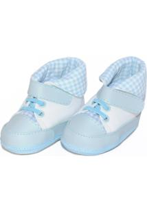69d536b39 Tênis Cano Alto Xadrez Sapatinhos Baby Azul-Bebê E Branca