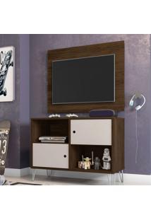 Rack Com Painel Para Tv Até 42 Polegadas Qatar Cedro E Nude 82 Cm