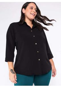 Camisa Almaria Plus Size Garage Lisa Preto