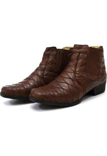 Bota Botina Country Soft Confort Escamada Com Elástico Couro Cla Cle Chocolate - Kanui