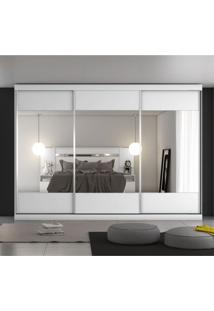 Guarda Roupa Casal Espelhado 3 Portas De Correr Milano Móveis Europa Branco Acetinado
