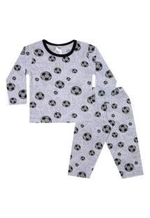 Conjunto Pijama Menino Em Meia Malha Rotativa Cinza - Liga Nessa