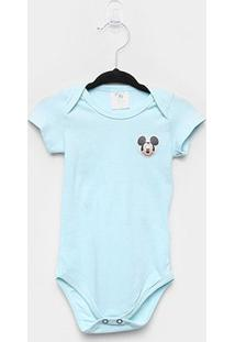 Body Infantil Marlan Básico Mickey Bebê - Masculino-Azul Claro