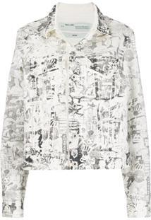 Off-White Jaqueta Jeans Com Logo - Branco