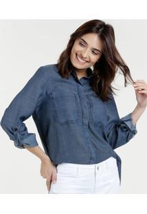 5d665900f4 Camisa Feminina Jeans Bolsos Manga 7 8 Marisa