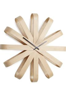 Relógio De Parede Ribbon 51 Cm Madeira Natural