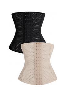 Kit Com 2 Cintas Modeladoras Abdominal Slim - Preta E Nude