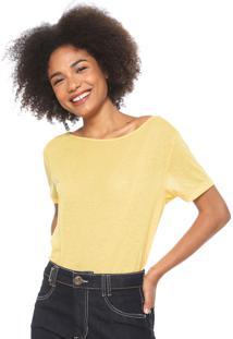 Camiseta Colcci Logo Bordado Amarela