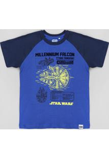 Camiseta Infantil Star Wars Raglan Manga Curta Azul