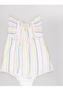 Vestido Infantil Listrado Com Babado Sem Manga + Calcinha Off White