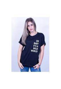 Camiseta Corte A Fio Bilhan Wild World Preta