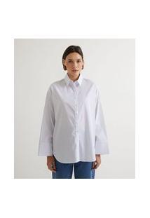 Camisa Manga Longa Em Tricoline Com Estampa Listras   Marfinno   Branco   Gg