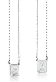 Escapulário De Ouro Branco 18K Com Medalha De N.S.Carmo E S.C.Jesus