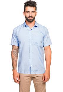 Camisa Manga Curta Tony Menswear Sr. Lisa Com Bolso Azul Claro