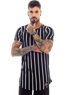 Camiseta Rich Young Long Gola Careca Manga Curta Listrada Preta E Branca