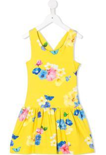 Lapin House Vestido Evasê Com Estampa Floral - Amarelo