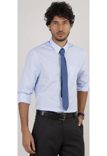 Kit De Camisa Masculina Social Comfort Listrada Manga Longa + Gravata Em Jacquard Azul Claro