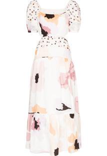 Peony Vestido Midi Com Estampa Floral - Branco