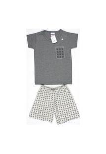 Pijama Curto Masculino Infantil Meia Malha Gola U Brezzi Estampa Geométrico Cor Cinza