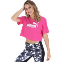 6fb118d7d5 Blusa Cropped Puma Elevated Essentials Tee - Feminina - Rosa