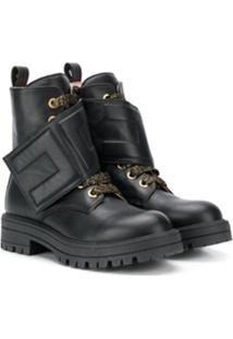 Elisabetta Franchi La Mia Bambina Metallic Threading Boots - Preto