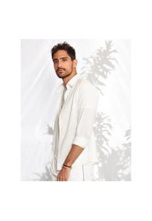 Camisas Khelf Camisa Masculina Viscose Flamê Off-White