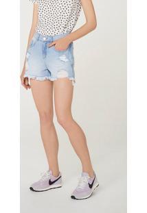 Shorts Jeans Feminino Relaxed Cintura Alta Destroyed