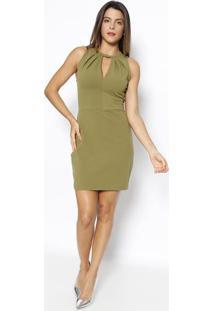 Vestido Com Pregas- Verde- Sommersommer