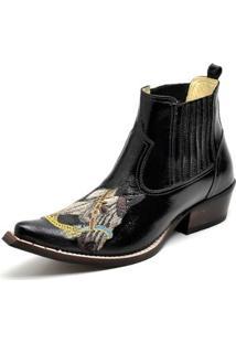 Bota Country Top Franca Shoes Bico Fino Verniz Masculino - Masculino-Preto