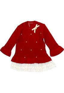 Vestido Gabriela Aquarela De Trico Vermelho Com Babados De Renda Off White