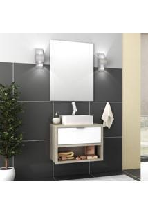 Gabinete Para Banheiro Com Cuba 1 Gaveta E Espelho Malta Móveis Bosi Barrique/Branco
