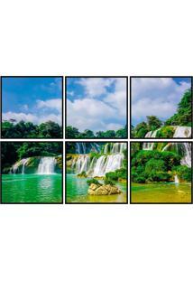Conjunto Com 6 Quadros Decorativos Cachoeira Preto