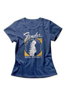 Camiseta Feminina Fender Musical Instruments Azul