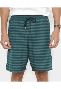 Bermuda Redley Listrada Atoalhada Masculina - Masculino-Verde