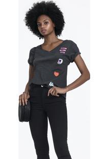 T-Shirt Em Malha Flamê De Algodão Com Apliques Bordados