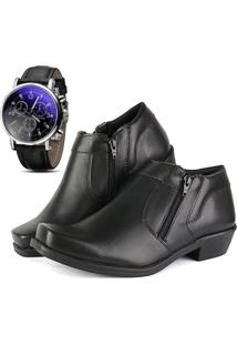 Bota Social Com Relógio Cr Shoes Com Ziper R14000M Preta