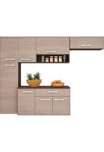 Cozinha Compacta Suspensa Poquema 8 Portas 1 Gaveta Anita Capuccino/Amêndoa