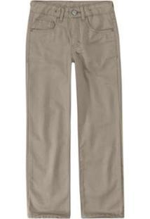 Calça Infantil Malwee Skinny Em Sarja Viroblock® Masculina - Masculino-Bege