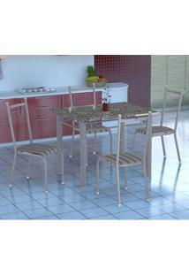 Conjunto De Mesa Gênova Com 4 Cadeiras Lisboa Branco Prata E Preto Listrado