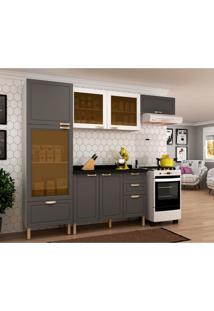 Cozinha Compacta Nevada I 7 Pt 4 Gv Grafite E Branca