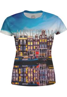 Camiseta Estampada Baby Look Over Fame Azul