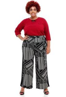 Calça Pantalona Melinde Plus Size Roujan Feminina - Feminino-Preto
