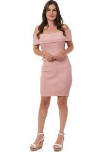 Vestido Pink Tricot Curto Ombro A Ombro Rosa