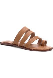 Rasteira Shoestock Tiras Grossas - Feminino-Caramelo