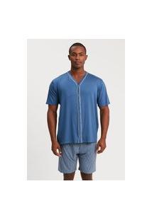 Pijama Recco Aberto De Viscose Strech E Viscoflex