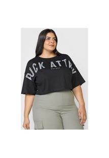 Camiseta Cropped Colcci Rock Attack Preta
